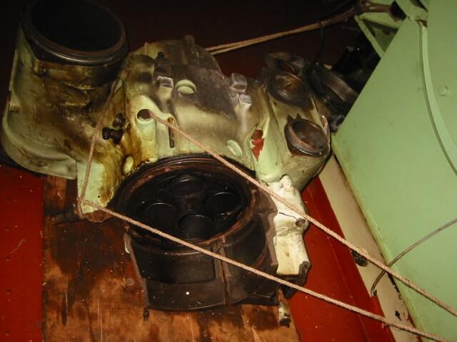Damaged ships cylinder head